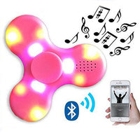 LED Light Switch MINI Bluetooth Speaker Music light up Fidget Spinner EDC Hand Spinner For Autism And Kids Adult Fidget Toy(Pink)
