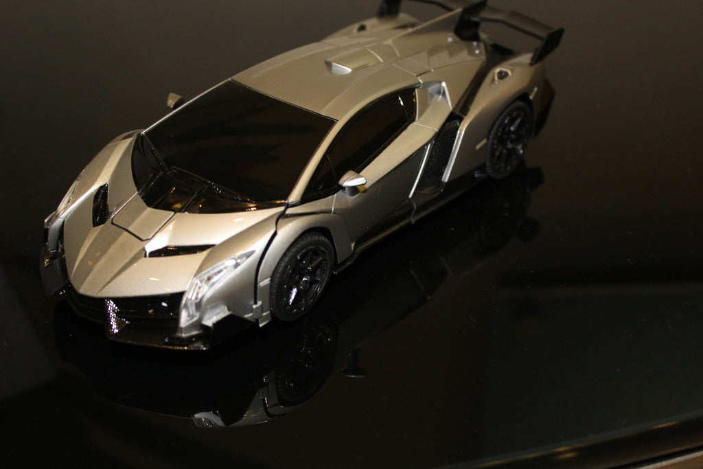 Remote Control Transforming Lamborghini Veneno Roaster Robot and Sports Car with light and sound Lamborghini (Silver or Red)(US Seller)