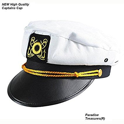 Adult Captain's Yacht Cap, White, Adjustable