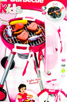 "24""Pink Pretend Play Barbecue Playset Kids Grill Set with Realistic Grilling Lights,Grill Lighter,Sounds and Cooking Accessories"