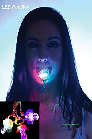 LED RGB Light Up Pacifier Necklace Rave Party Concert (Soft Tip) Pacifier In Retail Packing