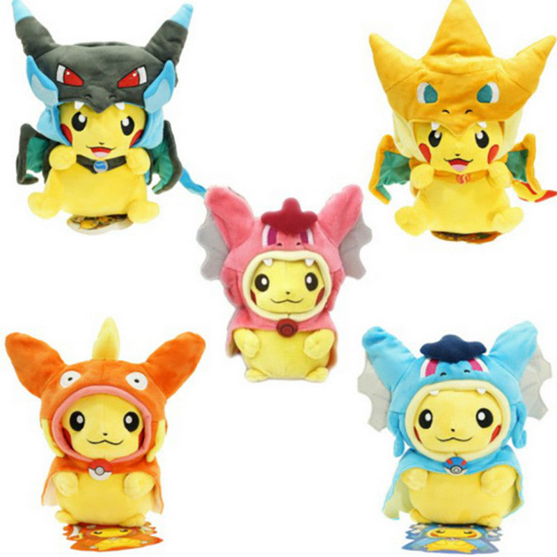 7 Kinds Option Pokemon Plush toys Pikachu Cosplay Mega Charizard gyrados Stuffed Animal Dolls Children Toys  kids Christmas Gift
