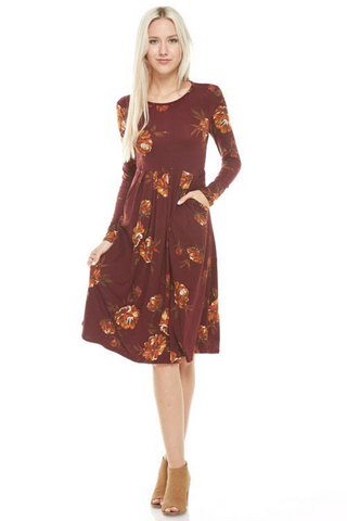 Wine Floral Pleated Dress