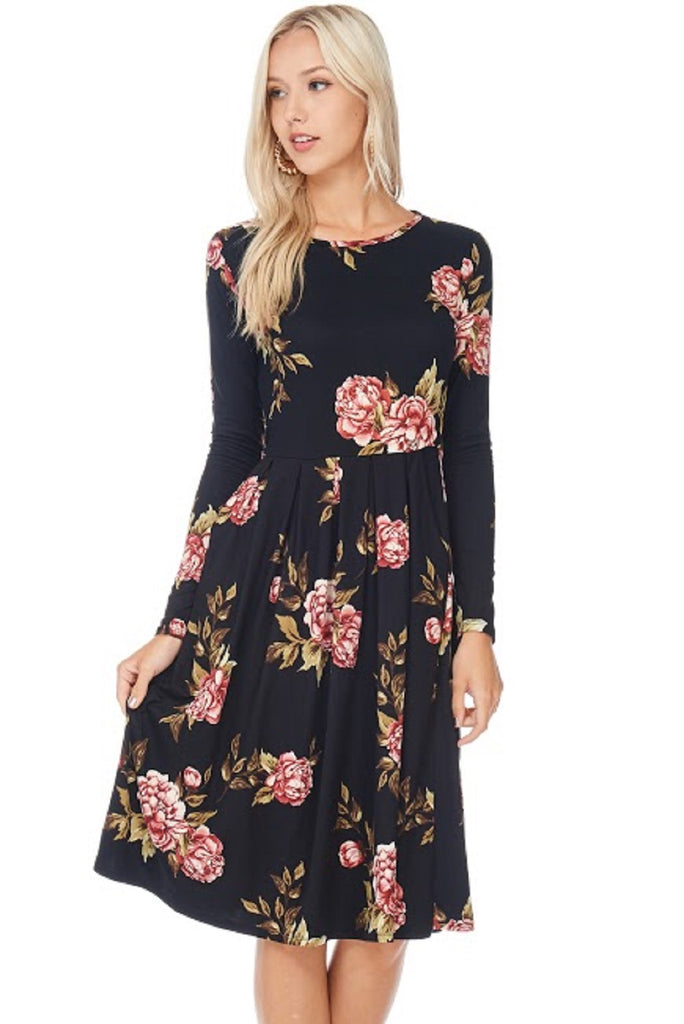 Black Cherry Floral Pleated Dress