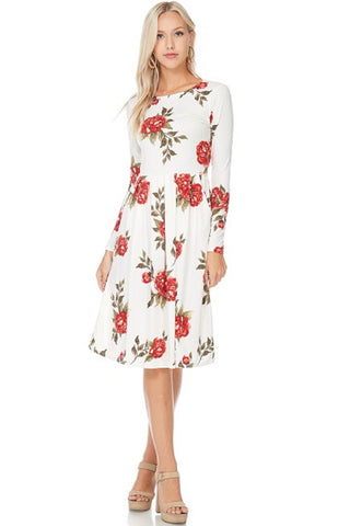Ivory Cherry Floral Pleated Dress