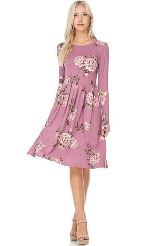 Mauve Floral Pleated Dress