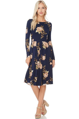 Navy Pearl Floral Pleated Dress