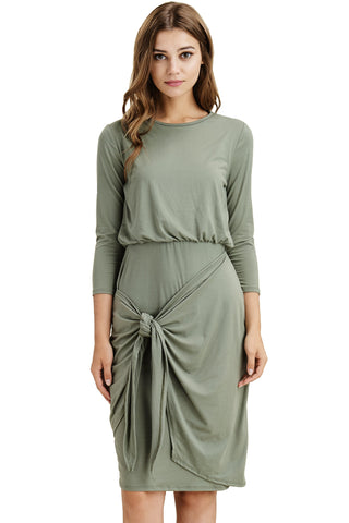 Front Tie Olive Dress