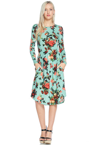 Mint Green Floral Dress