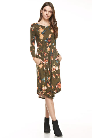 Olive Autumn Floral Dress