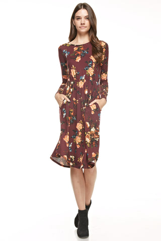 Wine Autumn Floral Dress
