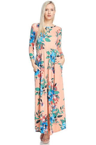 Spring Pink Floral Maxi Dress