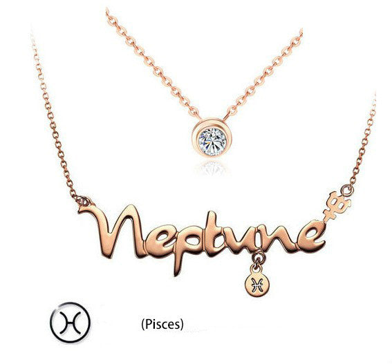 12 constellations titanium steel rose gold Double layers short  necklace(Pisces)
