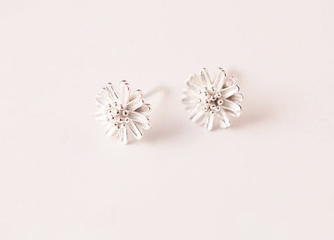 925 sterling silver earrings, silver little Daisy earrings