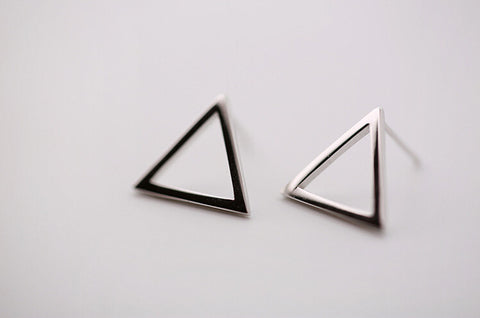 925 sterling silver geometric triangle earrings ,simple silver earrings,a delicate gift