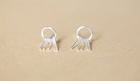 925 sterling silver contracted tassel earrings