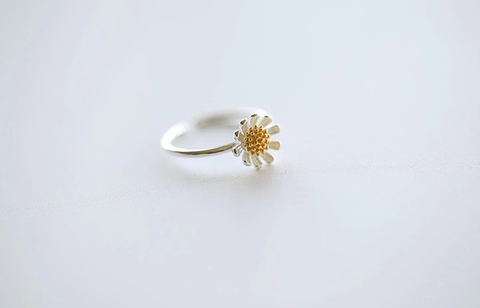 925 sterling silver open adjustable daisy ring Women's silver ring for gift