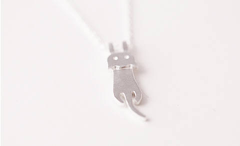 925 sterling silver cute cat necklace Women's silver cat necklace for gift