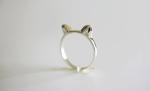 925 sterling silver cute cat open adjustable ring Women's silver cute cat ring for gift