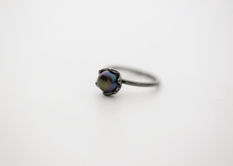 Adjustable black pearl ring,Exquisite  Ring Gift