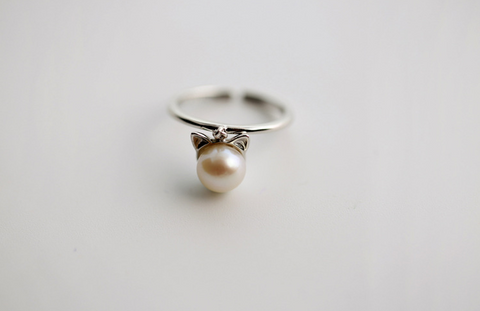 925 sterling silver pearl cat ear opening ring