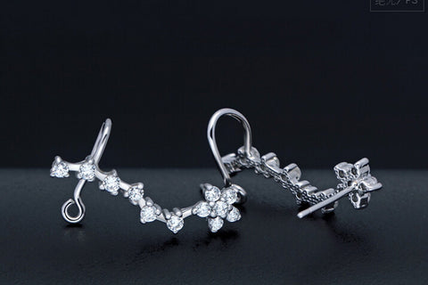 925 sterling silver fully-jewelled  flower  earrings,fashion earrings,a perfect gift