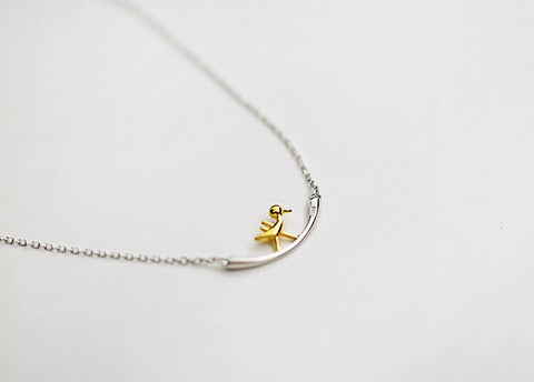 925 sterling silver two color Pecker necklace,simple sterling silver necklace, A delicate gift