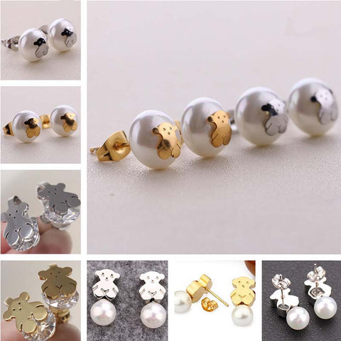 2016 New Lovely Stay Bear Imitation Pearls Earrings Inlaid Rose Gold Color Bear Titanium Steel Earrings Jewelry