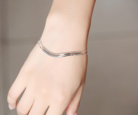 Double layer bracelet,Simple bracelet,925 Sterling Silver Bracelet,Exquisite gift