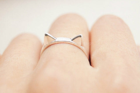 925 Sterling Silver Cat ring,silver cute cat ears opening ring