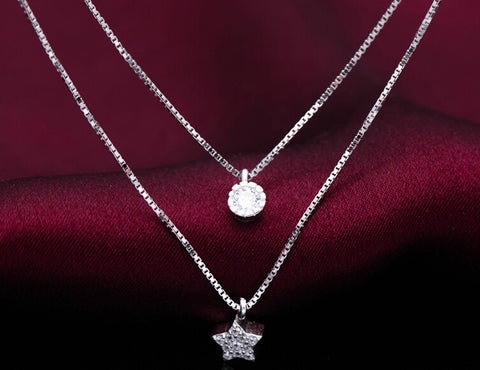 925 sterling silver Zircon double stars necklace ,sweet stars necklace, personalized fashion necklace, a perfect gift