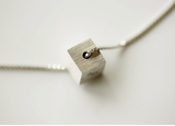 cute cube dear necklace ,925 Sterling Silver Necklace solid square,Necklace Pendant