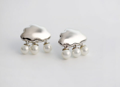 925 sterling silver Cloud Pearl Earrings,  sliver pearl earrings,cute cloud earrings