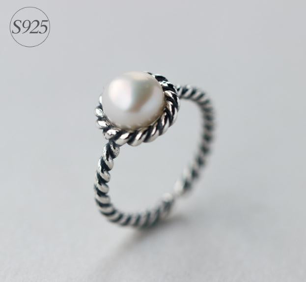 Retro 925 Sterling Silver Pearl Opening Ring Adjustable Retro