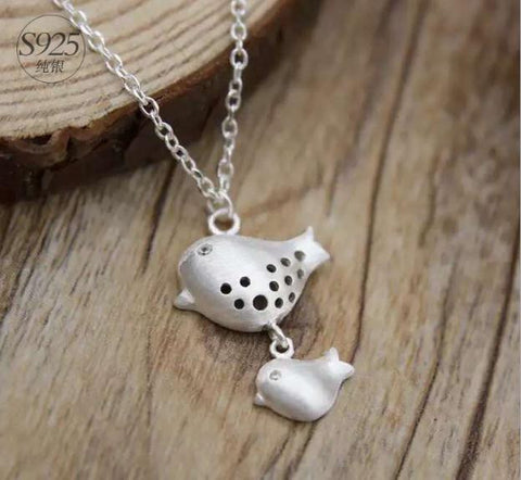 925 Sterling Silver bird necklace,double birds necklace,cute bird necklacea perfect gift