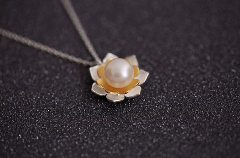 925 sterling silver  pearl necklace ,Golden Cherry rain necklace,cute flower pearl  necklace,simple silver necklace,a dainty gift