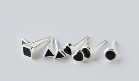 925 sterling silver  classic  men geometric Earrings ,personalized fashion black ring,a perfect gift