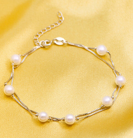 925 Sterling Silver multilayer pearl  bracelet, simple bracelet, a perfect gift