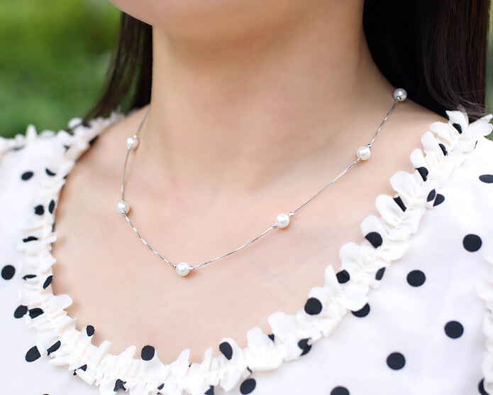 925 Sterling Silver Pearl Necklace Simple Necklace A Perfect
