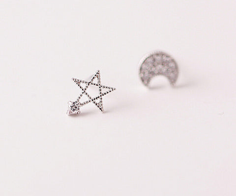 925 Sterling Silver (zircon and asymmetric earrings)