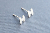 Capital H earrings,sterling silver earrings,simple earrings,brushed silver earring studs