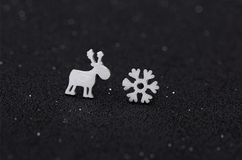 925 sterling silver asymmetric snowflake elk earrings , cute elk  earrings , for Christmas gift
