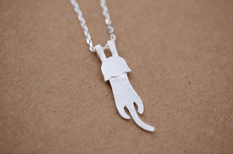 925 sterling silver   cat  necklace,cute cat necklace,Personalized fashion necklace,simple silver necklace,a dainty gift