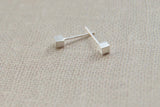 Tiny cube earrings,sterling silver earrings,cute earrings,brushed silver earring studs