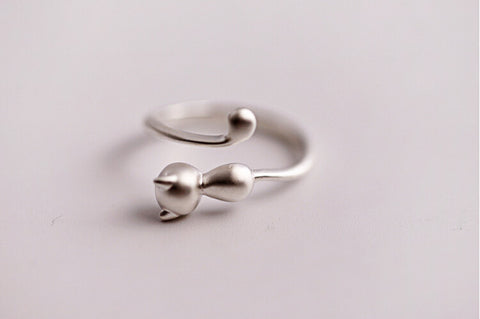 925 sterling silver cubic cat opening ring,simple sterling silver ring, A delicate gift