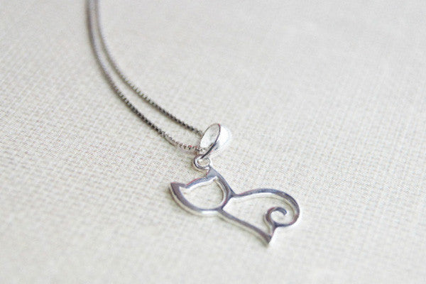 925 sterling silver cat necklacesimple silver necklace 925 sterling silver cat necklacesimple silver necklace aloadofball Images