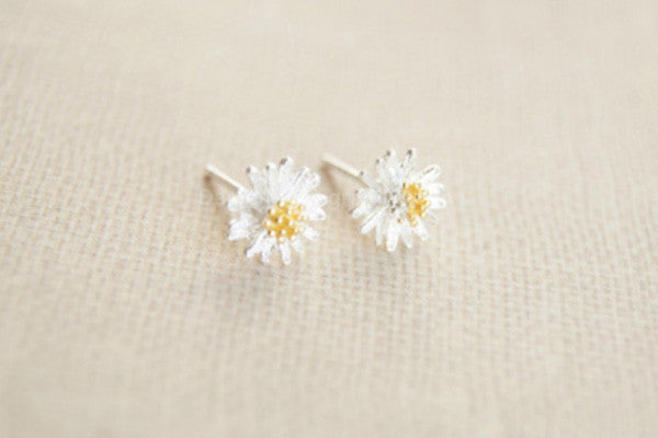 l earrings amazon silver sterling com stud daisy dp jewelry flower