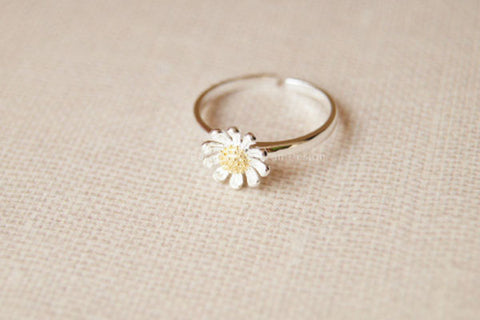 Sterling silver daisy ring,cute flower silver ring,silver daisy adjustable ring