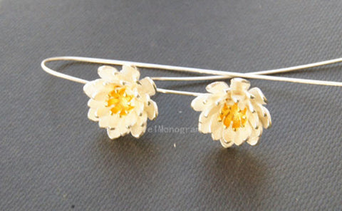 925 Sterling Silver Dangle earrings,,Delicate flower sterling silver earrings