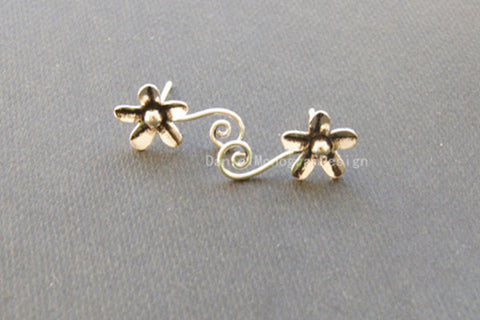 925 Sterling Silver flower earrings,retro sterling silver earrings